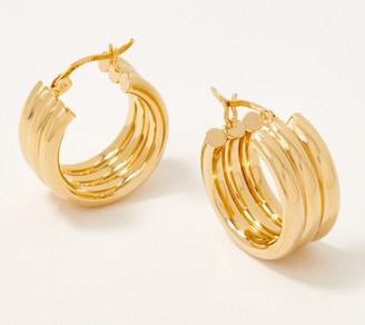 Gold One 1K Gold Polished Triple Hoop Earrings