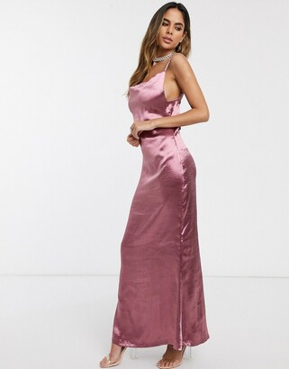 Public Desire maxi slip dress with cowl neck in luxe satin-Pink