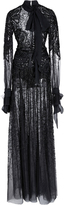 Elie Saab Bead Embroidered Long Sleeve Gown