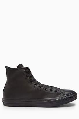 Converse Womens Black Leather High Top Trainers - Black
