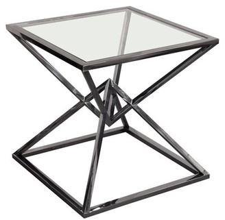 Diamond Sofa Aria Glass Top Frame End Table Table Base Color: Polished Black
