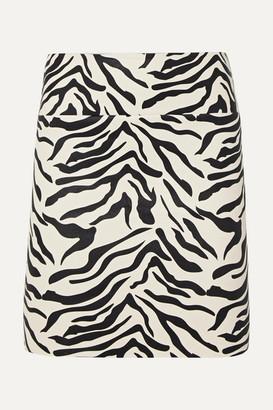 Sprwmn Zebra-print Leather Mini Skirt - Zebra print