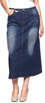 Be Girl Dark Wash Faded Jean Maxi Skirt - Plus
