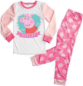 Peppa Pig TV's Toy Box Girls' Sleep Bottoms Pink Pink Polka Dot Personalized Pajama Set - Toddler & Girls