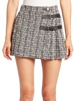 Alexander McQueen Pleated Tweed Mini Skirt