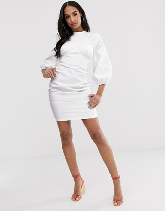 ASOS DESIGN ruched mini dress in twill