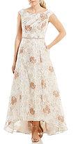 Cachet Cap-Sleeve Floral Brocade Hi-Low Gown