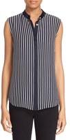 Frame Women's Sleeveless Stripe Silk Charmeuse Blouse