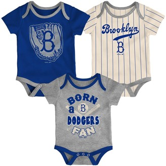 Outerstuff Infant Royal/Heathered Charcoal/Cream Los Angeles Dodgers Future Number One Creeper Three-Pack