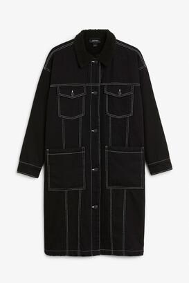 Monki Contrast stitch denim jacket