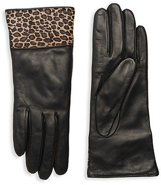 Portolano Calf Hair-Trim Leather Gloves