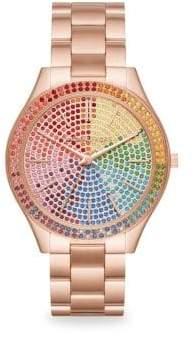 Michael Kors Slim Runway Rose Goldtone Stainless Steel Bracelet Watch