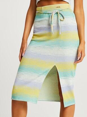 River Island Space Dye Midi Pencil Skirt-green
