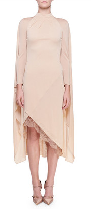Tom Ford Cape-Back Cocktail Dress with Chantilly Lace Trim
