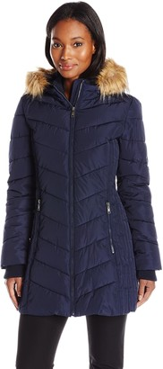 Tommy Hilfiger Women's Chevron Down Alternative Coat with Faux Fur Trim Hood