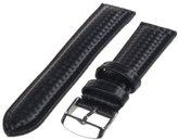 Republic Men's Carbon Fiber Style Leather Watch Strap 18mm Regular Length, Black
