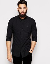 Farah Oxford Shirt with Black Weft Slim Fit