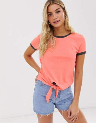 Brave Soul tie front ringer t shirt in peach-Orange