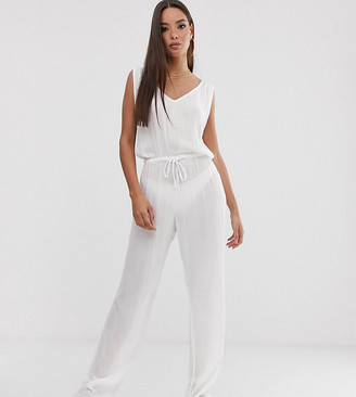 South Beach Exclusive drawstring beach jumpsuit in white-Pink