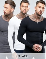 Asos 3 Pack Extreme Muscle Long Sleeve T-Shirt With Boat Neck SAVE