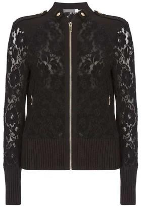 Mint Velvet Black Lace Zip Bomber Jacket