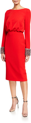 Badgley Mischka V-Back Long-Sleeve Dress with Beaded Cuffs