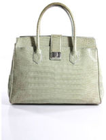 Dotti Light Green Crocodile Leather Multi Pocket Structured Satchel Handbag