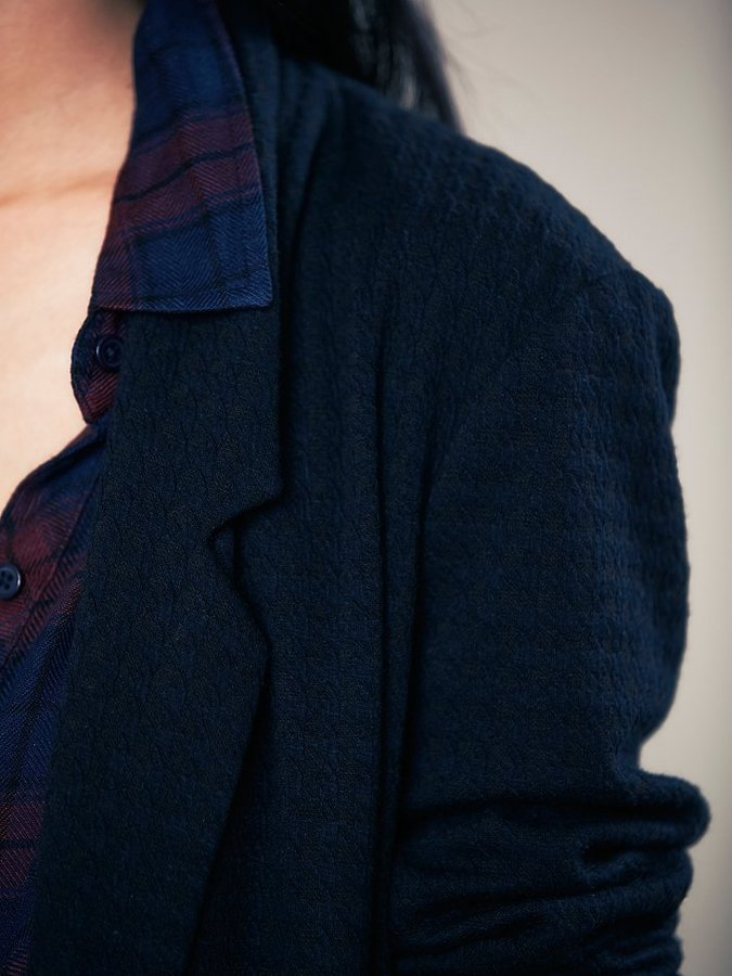 Free People Houndstooth Knit Slouchy Jacket
