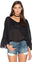 Enza Costa Peasant Voile Loose Ruffle Sleeve Top