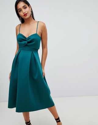 Asos DESIGN crop top midi prom dress with twist detail