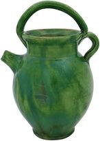 One Kings Lane Vintage Antique Glazed Green Olive Oil Jug