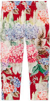 Gucci Silk Crepe de Chine Hydrangea Pants, Pink/Red, Size 4-12