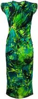 Versace Jungle print ruched sleeveless dress
