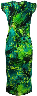 Versace Jungle print ruched sleeveless dress
