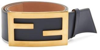 Fendi Ff-buckle Leather Belt - Navy