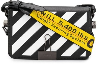 Off-White Diagonal Stripe Motif Shoulder Bag