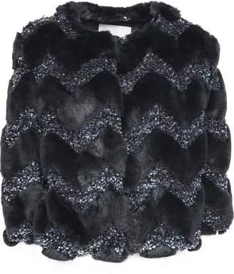 Ainea Faux Fur And Metallic Tweed Jacket