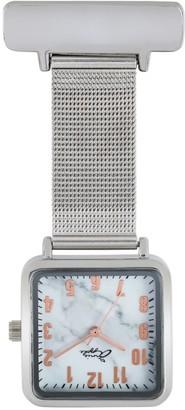 Bermuda Watch Company Annie Apple Square Rose Gold & Marble Silver Mesh Nurse Fob Watch