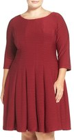 Gabby Skye Plus Size Women's Pintuck Knit Fit & Flare Dress
