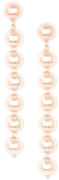 Zenzii 18k Gold-Plated Imitation Pearl Linear Drop Earrings