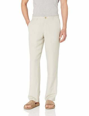 Amazon Essentials Classic-fit Flat-front Linen Pant Casual (Light Beige) Small