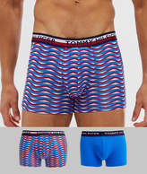 Tommy Hilfiger 2 pack trunks with contrast waistband in print/blue