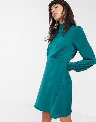 Only Naomi high neck satin puff sleeve dress-Green