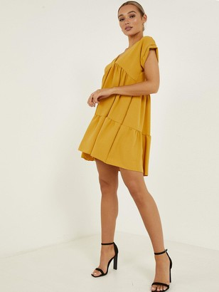 Quiz V-Neck Short Sleeve Tiered Smock Dress - Mustard