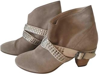 IRO Ecru Suede Ankle boots