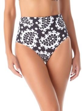 Anne Cole Riviera Paisley Shirred High-Waist Bikini Bottoms Women's Swimsuit