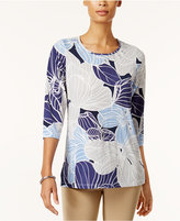 Alfred Dunner Printed 3/4-Sleeve Top