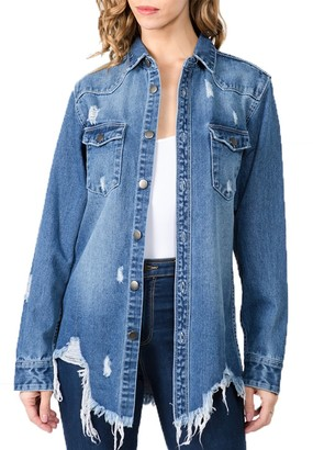 Steve Madden Distressed Denim Shirt Blue
