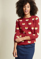 ModCloth Fox Faces Pullover Sweater in XS