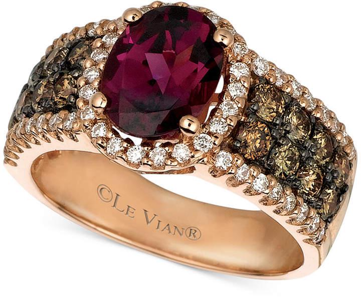 LeVian Le Vian Raspberry Rhodolite Garnet (1-7/8 ct. Chocolate Diamond (3/4 ct. t.w.) and White Diamond (3/8 ct. t.w.) Oval in 14k Rose Gold
